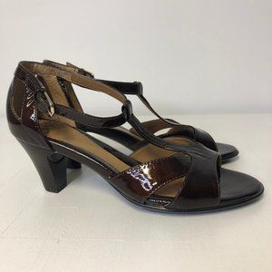 Sofft Brown Patent Leather T-Strap Sandals Heels